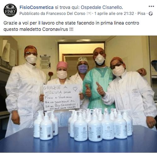 Gel igienizzante mani - Spray igienizzante mani - Acquista Online su Fisio.it - Nostra donazione all'Ospedale di Cisanello di Gel e Spray Igienizzante mani