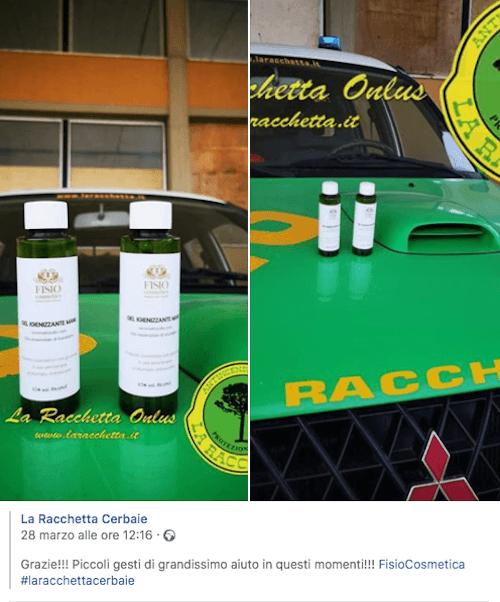 Gel igienizzante mani - Spray igienizzante mani - Acquista Online su Fisio.it - Nostra donazione di gel e spray a La Racchetta Onlus